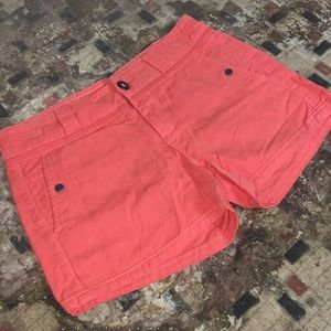 Anthropologie :: BRIGHT CORAL cotton/linen shorts